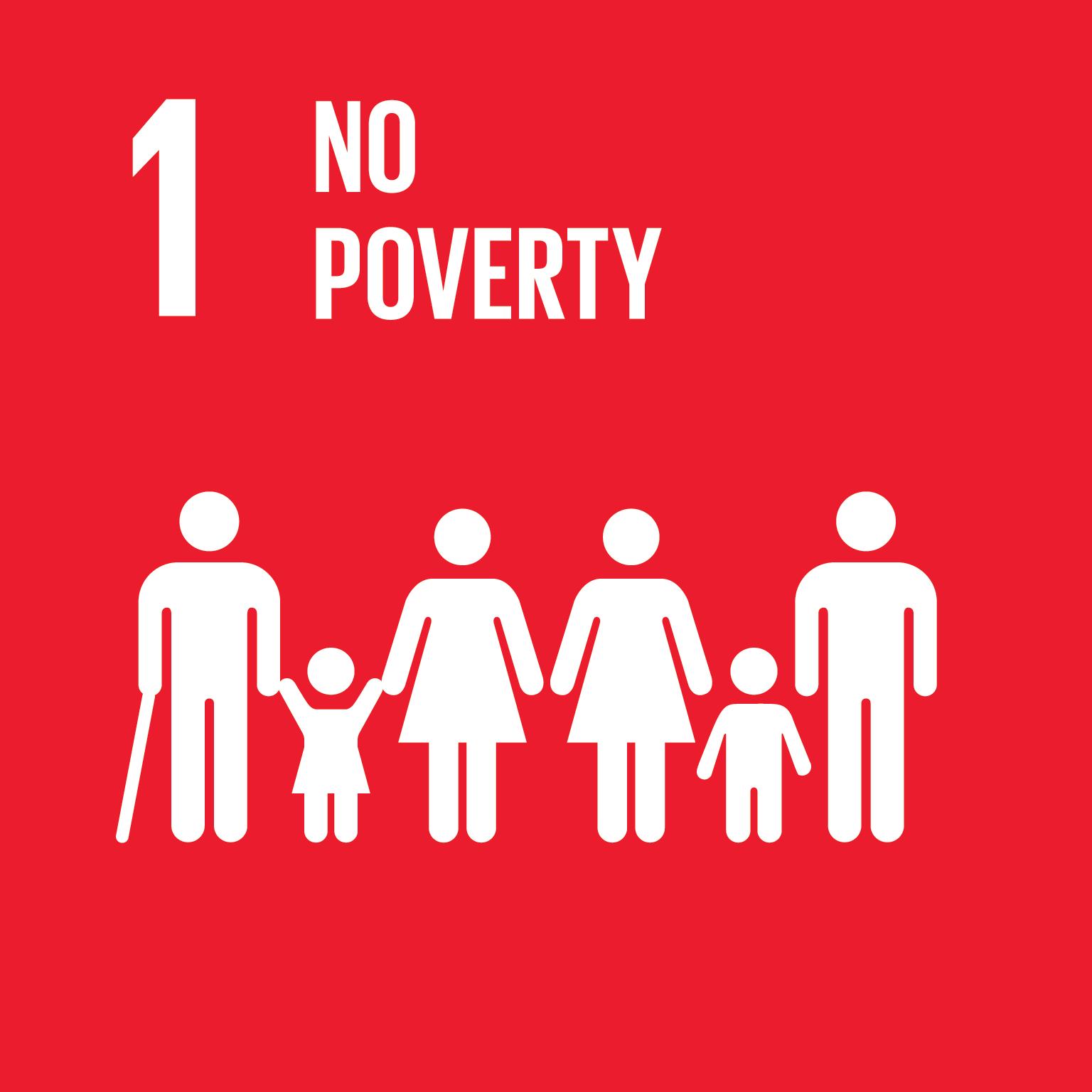 Kestävän kehityksen tavoite 1 no poverty logo