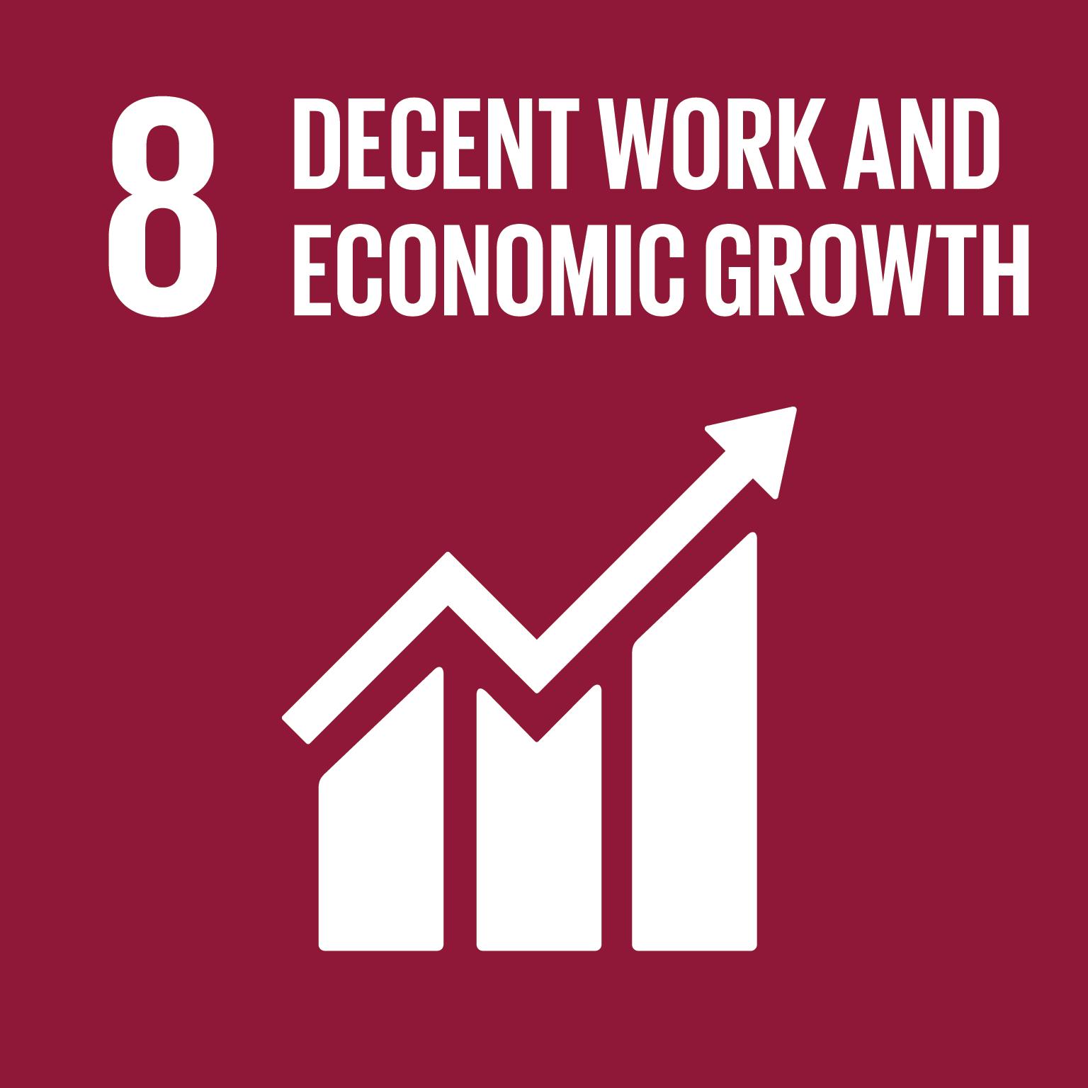 Kestävän kehityksen tavoite 8 Decent work and economic growth logo
